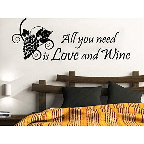 "Adhesivo decorativo para pared, diseño de citas con texto en inglés ""All you need is love and wine"", vinilo, 7 x 17.5 inches"