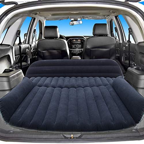 Sibosen Inflatable Car Air Mattress Back Seat, SUV Air Mattress Car Travel Bed with Air Pump Kit, Portable Car Mattress Fast Inflation Bed for Universal Car SUV Truck Home Camping Vacation (Black)