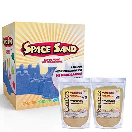 Space Sand 1.8 kg con 50 Piezas de Formas, números, Letras, Piezas de Castillos, Herramienta de Modelado, Arena mágica cinética, Probada por el TÜV, Modelo 2020 (1.8kg Marron)