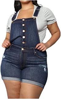 XINHEO Womens Plus Size Regular-Fit Pockets Buttons Jean Overall Shorts