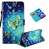 Vectady für Huawei Honor 8X Hülle, Schutzhülle Case Leder Handyhülle mit Magnet Kartenfächer Geldbörse Silikon Cover Flip Lederhülle Brieftasche Case für Huawei Honor 8X,Blau -