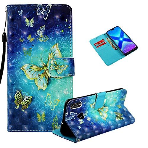 Vectady für Huawei Honor 8X Hülle, Schutzhülle Case Leder Handyhülle mit Magnet Kartenfächer Geldbörse Silikon Cover Flip Lederhülle Brieftasche Case für Huawei Honor 8X,Blau