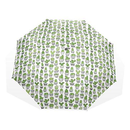 LASINSU Regenschirm,Saftige stachelige Kakteen kritzeln gemusterte Töpfe Exotische Zimmerpflanzen,Faltbar Kompakt Sonnenschirm UV Schutz Winddicht Regenschirm
