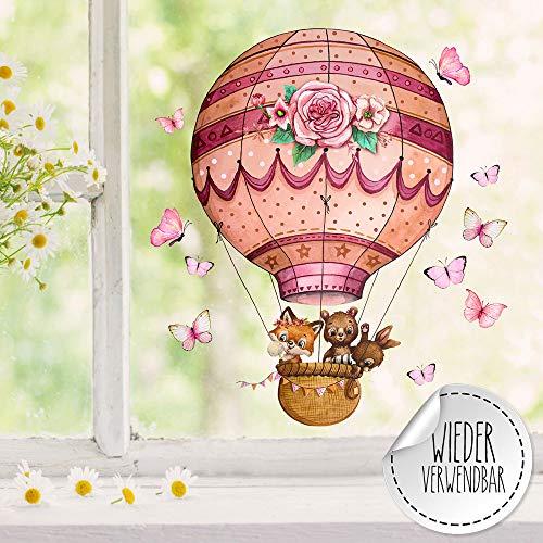 ilka parey wandtattoo-welt Fensterbild Heißluftballon Fuchs Hase Bär Schmetterlinge wiederverwendbar Fensterbilder Frühling Deko Dekoration bf126 - ausgewählte Größe: *2. Tiere Heißluftballon*