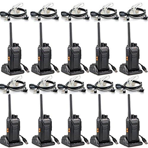 Retevis RT27 Portofoons met Headset PMR446 Vergunningsvrije 16 Kanalen CTCSS/DCS VOX Scan Monitor Noodoproep Professionele Walkie Talkie met Headset en USB-laadstation (10 Stuks, Zwart)