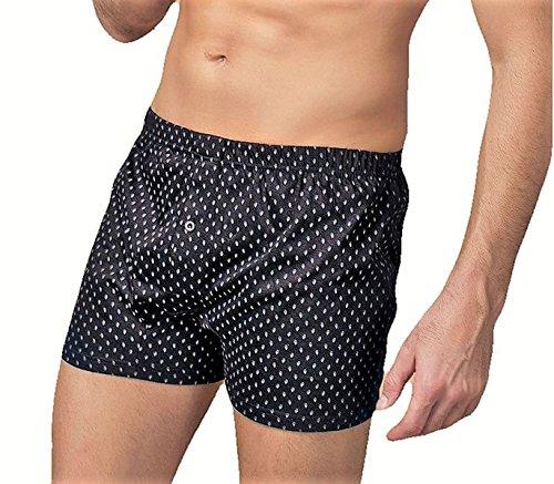 NOTTINGHAM N. 3 Boxer Fondo Scuro Uomo in Cotone Mercerizzato Underwear - Apertura Anteriore, Chiusura Bottone ED Elastico Foderato. Disponibile in Fantasie assortite con Fondo Scuro