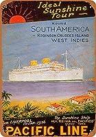 南アメリカへの太平洋ラインメタルサインレトロな壁の装飾ティンサインバー、カフェ、家の装飾