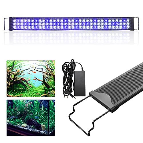 Lueigmo LED Aquarium Beleuchtung, Aquariumbeleuchtung Lampe Weiß Blau Licht 48W 90CM Aquarium Lampe mit Verstellbarer Halterung für Süßwasser-Aquarien