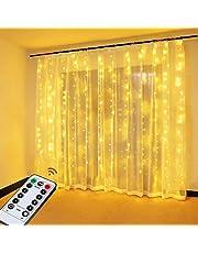 OMERIL Rideau Lumineux,Guirlande Lumineuse USB 3*3M,8 Modes d'Eclairage Luminosité Réglable Minuterie par Télécommande,Etanche IP65 avec Crochets,Decoration de Fenêtre,Noël,Mariage,Anniversaire,Fête