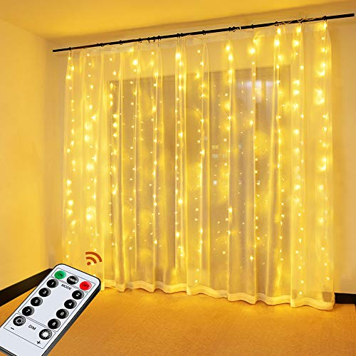 Cortina de Luces, OMERIL Cortina LED con USB, 8 Modos 3*3 M 300 LED, Cadena de Luces Impermeable IP65 y Control Remoto Luces Navidad para Interior Exterior Decoración, Habitación, Casa, Fiestas, Bodas