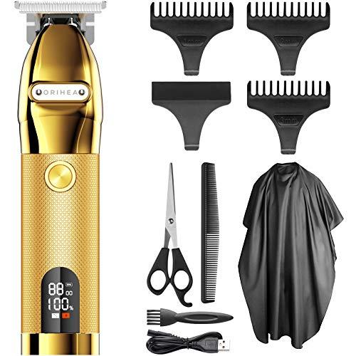 Easy Trim Rasierer, OriHea Pro t Kabelloser T-Klingen - Trimmer Haarschneidemaschine Profi 0mm Haartrimmer Mit USB Wiederaufladbarer Apparat, Konturenschneider Detailer Haarschneider-Gold