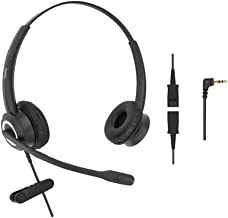 DailyHeadset 2.5 mm Jack HD Voice Corded Office Telephone Headset Headphones for Cordless Phones DECT IP Landline Cisco SPA Polycom AT&T (Binaural)