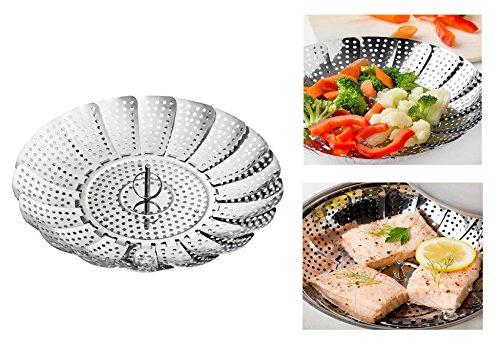 MILANIA Panier Cuit-Vapeur Pliable en Acier Inoxydable pour Cuire Légumes et Aliments