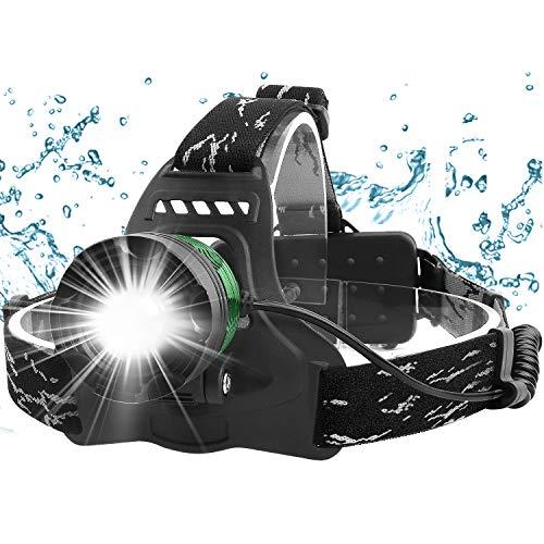 Fenvella Torcia Frontale LED USB Ricaricabile, Zoomable Lampada da Testa IPX6 Impermeabile Leggero Luce Frontale con Luce di Segnalazione Rossa, per Running Campeggio Bici Pesca Ciclismo