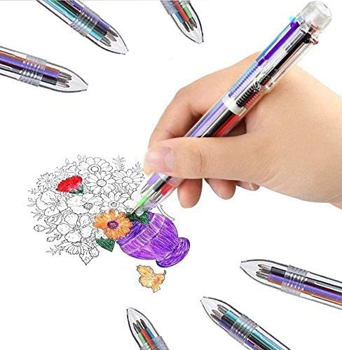 SMTTW 4 Pack 0.5mm 6-in-1 Multicolor Ballpoint Pen - Best for Smooth Writing-Retractable Ballpoint Pens for Office School Supplies Students Children Gift