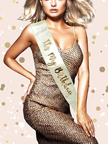 Alandra Birthday RGS-Its It's My Cream & Rose Gold Metallic Birthday Sash, Taglia Unica