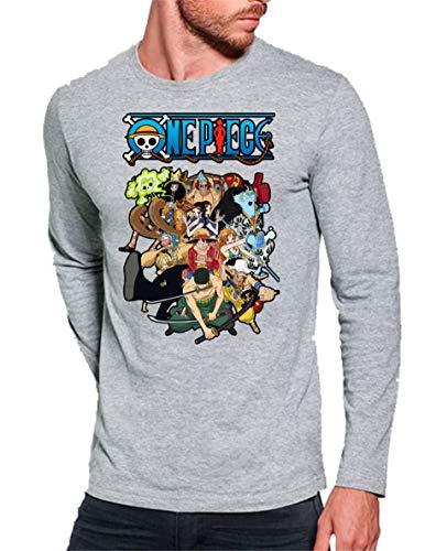 Camiseta Manga Larga de Hombre One Piece Manga Anime Luffy Sanji Roronoa 011 M