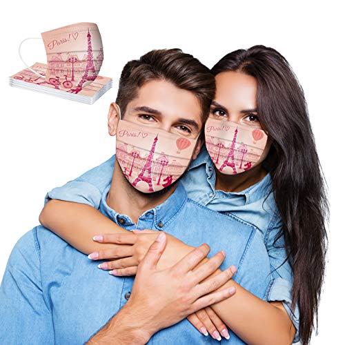 757 Adulto 3 Masca_rillas Capas Bandanas Cómodo Respirable con Elástico para Los Oídos para Actividades al Aire Libre,Impresión de San Valentín (10 Piezas)