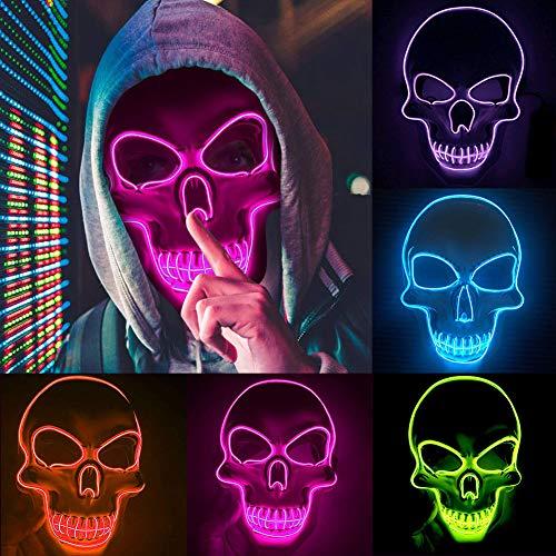 BuyB Máscara de LED para Dia das Bruxas, máscara de purga para eleições, máscara para festa de DJ, máscaras iluminadas que brilham no escuro, máscara assustadora de várias cores, A, 24 *22.5*6.3cm