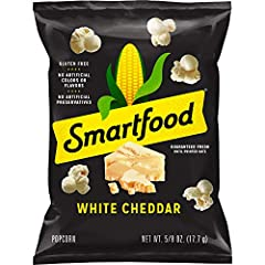 40 count of .625 ounce bags of Smart food White Cheddar Popcorn Only 100 calories per bag Delicious popcorn with real cheese makes for a great snack No artificial flavors or preservatives Air popped 100% whole grain popcorn made with real ingredients...