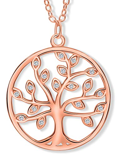 VIASOUL® Halskette Lebensbaum I Baum des Lebens Halskette für Damen I Tree of Life aus 925er Silber I Mit 585er Gold überzogen I Die Original Lebensbaum Kette (Rose)