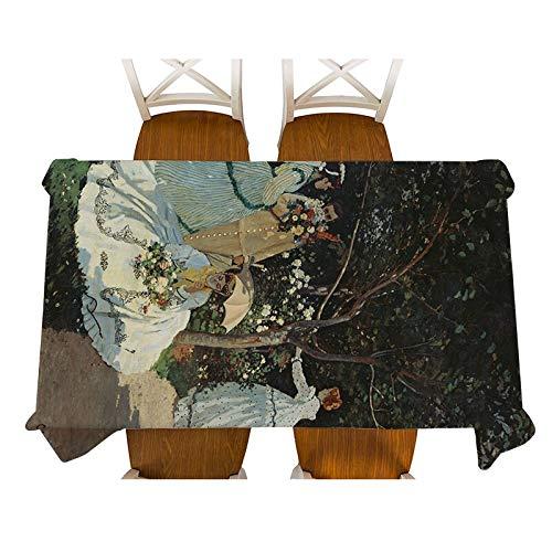 XXDD Monet-Jenny en el jardín Pintura Mantel de Lino Decorativo Impermeable Grueso Rectangular Cubierta de Mesa de Comedor Mantel de té A8 135x180cm