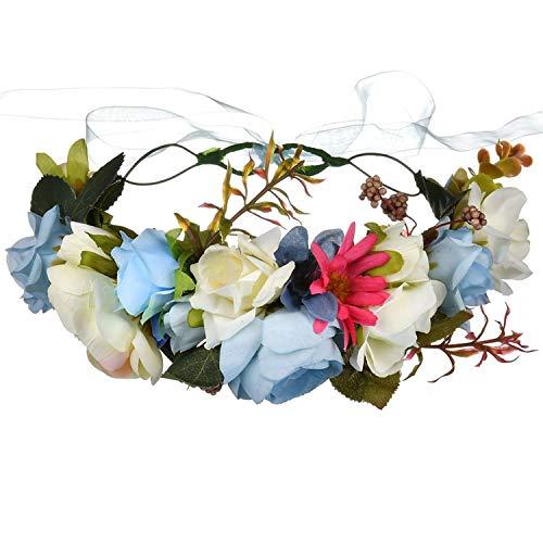 Rose Blume Haarbänder Kranz Frauen Hochzeit Crown Blumengirlanden Brautjungfer Mädchen Haarschmuck Kopfschmuck Kopfbänder, Bild color3, einstellbar