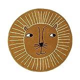Manyao - Alfombra de bebé lavable, de algodón, diseño de león bonito, alfombra redonda para niños, alfombra de suelo, alfombra de juguete plegable