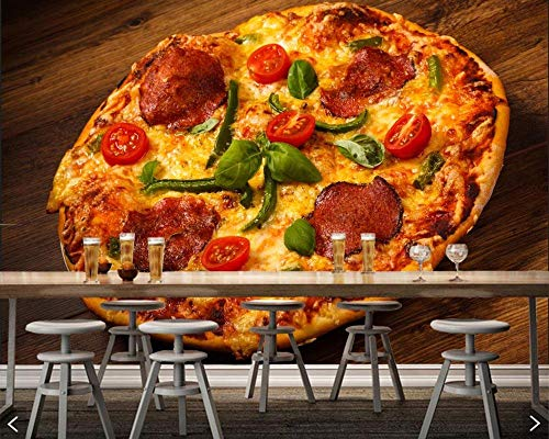 WGBHQ 3D Mural Verwijderbare Zelfklevende Wallpaper-Wanddecoratie - Retro Bruine Plank Fast Food Pizza Restaurant Familie Woonkamer Slaapkamer Kantoor Kinderen Kamer Decoratie Wallpaper(W)350x(H)256cm
