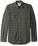 Amazon Brand - Goodthreads Men's Slim-Fit Long-Sleeve Plaid Poplin Shirt, Green/Burgundy, Medium Tall