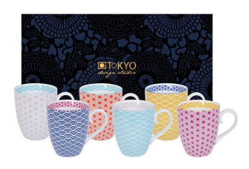 Tokyo Studio di Design, Star Wave, 6 Tazze in Confezione Regalo Decorativa, stoviglie in Porcellana, 380ml