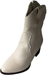 ❤Kauneus❤ Women's Vintage Ankle Boots Pointed Toe Chunky Mid Heel Mid Calf Boots Leather Side Zipper Classic Retro Shoes