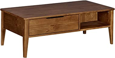 MUSEHOMEINC California Mid-Century Solid Wood Rectangle Coffee Table with Storage Drawer for Living Room/Cocktail Height Design, Honey Brown Finish