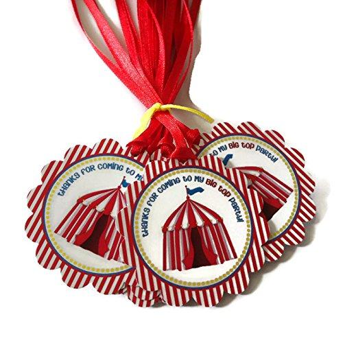 Adorebynat Party Decorations - EU Big Top carpa de Carnaval Circo del favor de Etiquetas - Los niños del muchacho y fiesta de cumpleaños de Etiquetas de regalo - Set 12