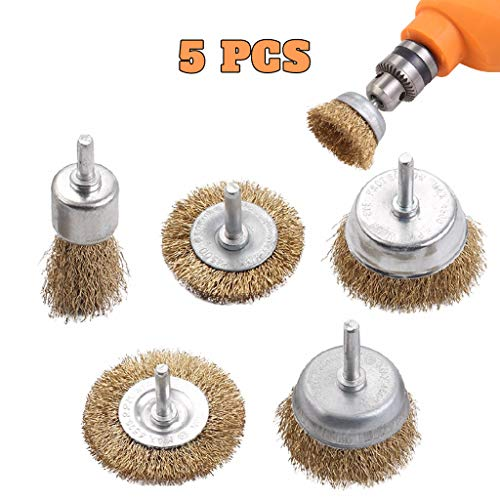 Little Story 5Pcs Brass Coated Wire Brush Wheel & Cup Brush Set with 6mm Shank Metal Cleaning