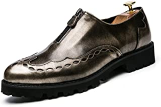 Aomoto Men's Fashion Oxford Casual Classic Carve Personality Zipper Retro Patent Leather Brogue Shoes
