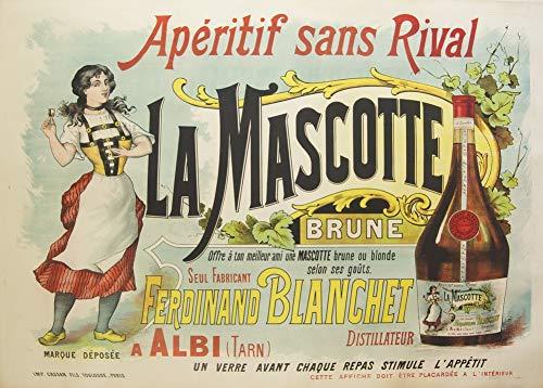 Vintage bieren, wijnen en sterke drank 'La Mascotte Aperitief', Frankrijk, 1900, 250gsm Zacht-Satijn Laagglans Reproductie A3 Poster