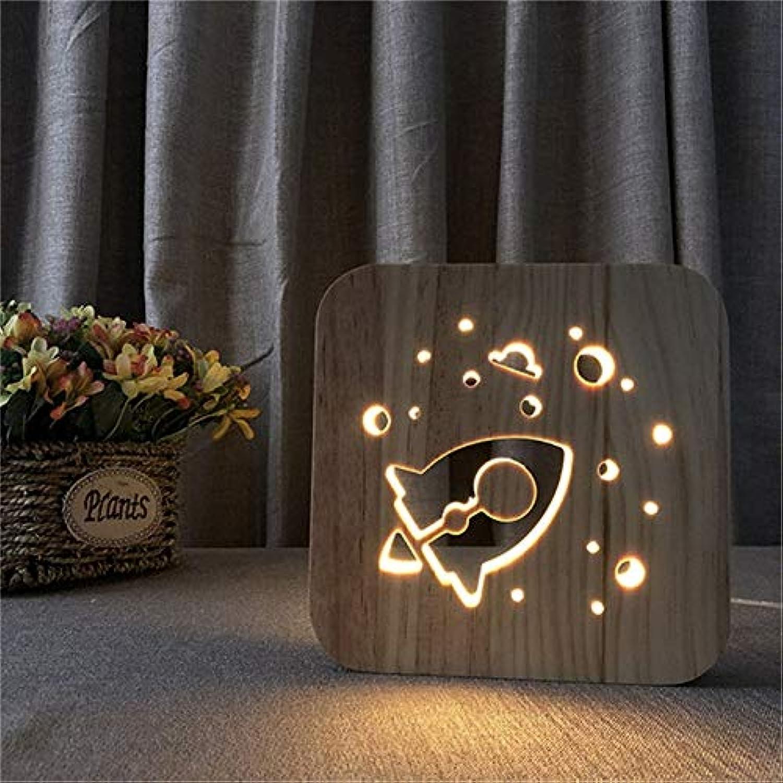 LNHYX Rocket 3D Wood Night Light Decor Nightlight Usb Desk Table Lamp Visual Bedroom Kid Wooden Decorative Novelty Lighting