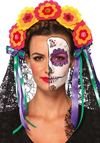 Leg Avenue A2726 Day of the Dead haarband met bloemen, strik en doorzichtige kanten slijper, eenheidsmaat, multicolor