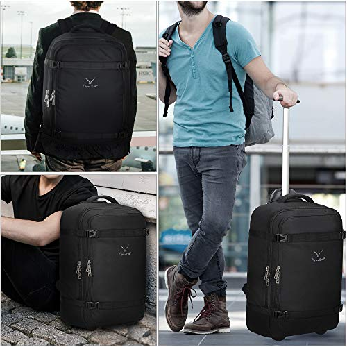 Hynes Eagle 42L Rolling Backpack Rolling Backpack Flight Tested Travel Backpack Hand Luggage Backpack Luggage, Black