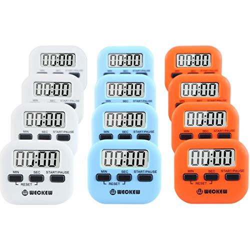 Digitaler Küchen-Timer, WECKEW magnetisch, Countdown-Stoppuhr mit lautem Alarm, große Ziffer, Ständer für die Rückseite, Badezimmer, Kinder, Lehrer S-4white+4orange+4blue