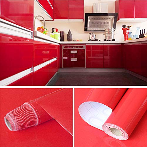Parelmoer Stickers marmer behang verdikking laser vetvrij papier dikker 0.4m * 3m Pearl Red