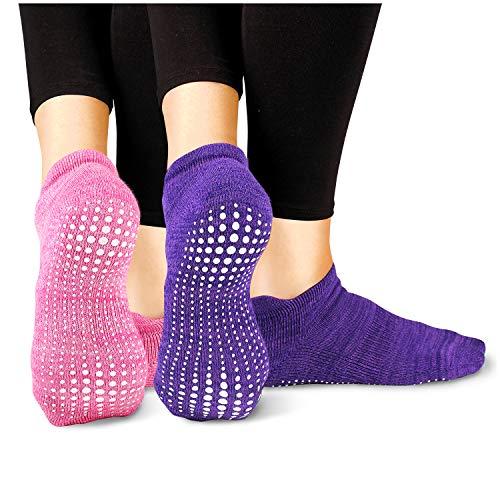 LA Active Calcetines Antideslizantes - 2 Pares - Para Yoga Pilates Ballet Barre Mujer Hombre (Rosado y Morado, 40-44 EU)