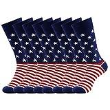 American Flag Fun Dress Socks for Men,Bonangel Cotton Novelty Crew Socks,Groomsmen Gift Socks 2/4/6 Pairs