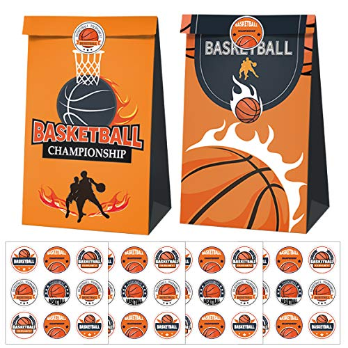 Cieovo 24 Pack Basketball Party Candy Favor Bags with Stickers, Basketball Goodie Gift Treat Bags for Basketball Themed Birthday Baby Shower Sport Event Party Supplies