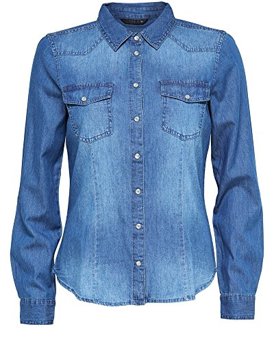 ONLY 15109179-camisa Mujer, color Azul (Dark Blue Denim), talla 38