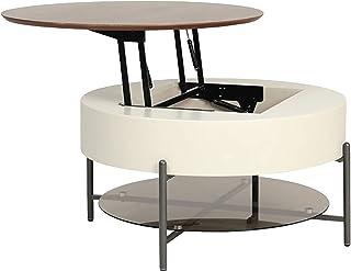 Table Basse Rétractable Relevable Table À Thé Ronde Table D'extrémité De Rangement Double Couche Maison Moderne Minimalist...