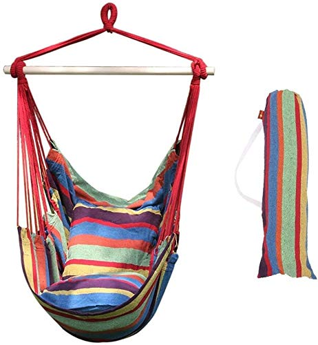 XCJJ Hammock Swing Chair, Soft Cushioned Rope Hanging Swing Set, Garden Hanging Rope Hammock Chair Porch Swing Seat with Two Cushions for Yard Porch Patio (Hot Colors) (Color : Tropical Stripes)