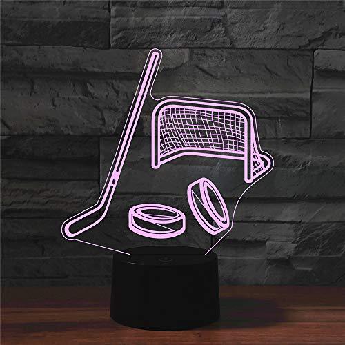 DKIPN 3D Hockeyausrüstung Nachtlicht,16 Farben Berührungssteuerung Zuhause Deko Tischleuchte, Led Optische Illusion Lampe Usb Tischlampe, Für Kinder Weihnachts Geburtstag Geschenk Spielzeug