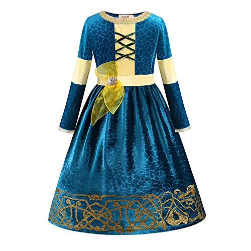 findpitaya Merida de Rebelle Costume Robe de fête Robe de Fille (120cm)